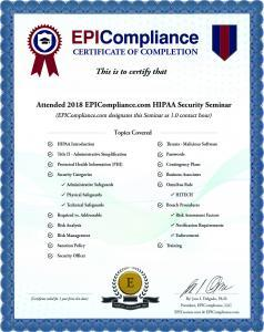 HIPAA Exam Certificate
